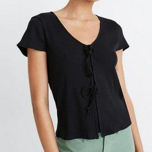 Madewell black  Ribbed Bow-Front Tee sz XS NWT